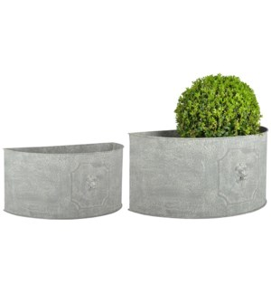 """AM lion flower pots half round set2 - 16.75x8.75x8, 19.5x10.5x9.5 inches"""