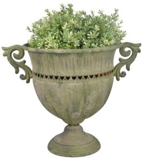 Aged Metal Green urn round L. Aged Metal. 39,5x28,0x30,6cm. oq/6,mc/6 Pg.112