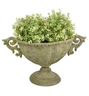 """Aged Metal Green urn oval S. Aged Metal. 40,0x23,4x24,0cm. oq/12,mc/12"""
