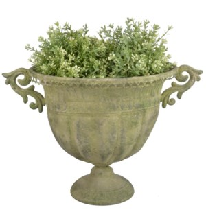 """Aged Metal Green urn oval L. Aged Metal. 46,3x28,0x31,5cm. oq/6,mc/6 Pg.112"""