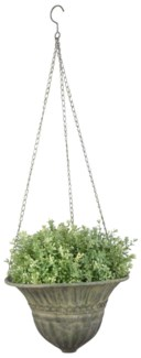Aged Metal Green hanging basket S. Aged Metal. 25,3x25,3x18,4cm. oq/12,mc/12 Pg.112