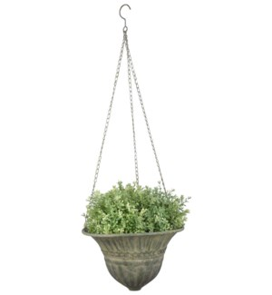 """Aged Metal Green hanging basket S. Aged Metal. 25,3x25,3x18,4cm. oq/12,mc/12 Pg.112"""