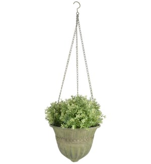 """Aged Metal Green hanging basket L. Aged Metal. 30,0x30,0x18,7cm. oq/6,mc/12 Pg.112"""