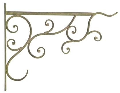 Aged Metal Green basket hook. Aged Metal. 34,5x2,2x26,3cm. oq/12,mc/12 Pg.112