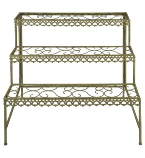 Aged Metal Green etagere. Aged