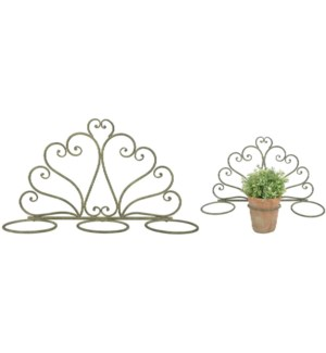 """AM Green flowerpotholder 3 pots. Aged Metal. 47,0x14,7x37,0cm. oq/8,mc/8 Pg.112"""