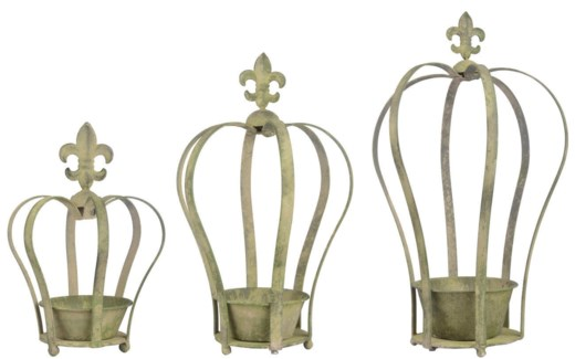 Aged Metal Green crown planter set3. Aged Metal. 15,6x17,3x24,7/21,0x23,3x37,3/30,4x27,1x49,5cm.