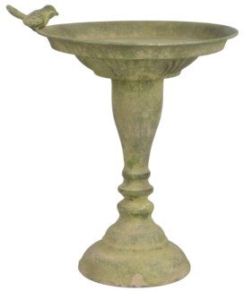 Aged Metal Green standing bird bath. Aged Metal. 23,9x23,9x32,5cm. oq/6,mc/6 Pg.113