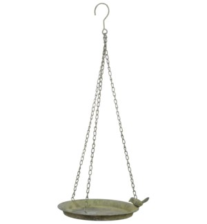 """AM Green hanging birdbath 1 bird. Aged Metal. 24,3x24,3x5,3cm. oq/12,mc/12 Pg.113"""