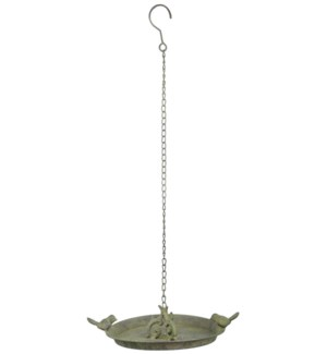 AM Green hanging birdbath 2 birds. Aged Metal. 23,7x23,7x7,4cm. oq/12,mc/12 Pg.113