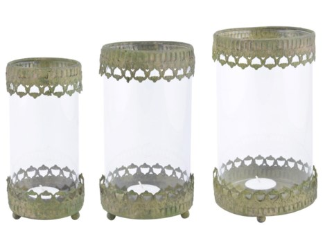 Aged Metal Green windlight set of 3. Aged Metal, glass. 9,0x9,0x17,6/11,0x11,0x19,5/13,0x13,0x21,7c