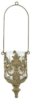 Aged Metal Green hanging lantern - (5x4.3x16.5 inches)