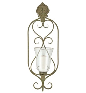 Aged Metal Green wall lantern - (9.4x6.1x26.6 inches)
