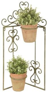 Aged Metal Green flowerpot holder corner -  (16.7x5.7x27 inches)