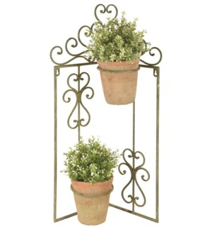 Aged Metal Green flowerpot holder corner -  (16.7x5.7x27 inches)