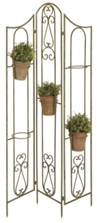 Aged Metal Green flowerpot holder stand - (33.5x5.1x58.9 inches)