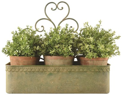 Aged Metal Green wall planter L - (17x5.5x14.8 inches)