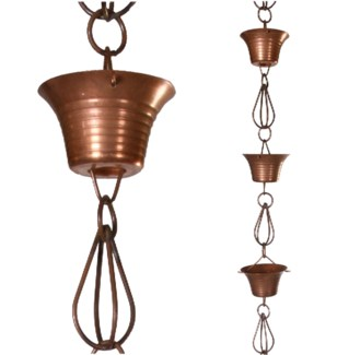Rain Chain Bowl n Cage Iron. Antique Copper Coated 3Dx96