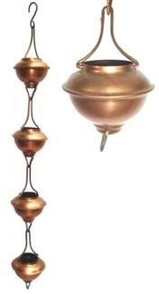 Rain Chain Bowl Iron. Copper Antique Powder Coated.  3.25Dx96