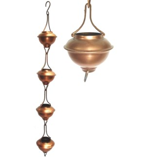 Rain Chain Bowl Iron. Copper Antique Powder Coated.  3.25Dx96