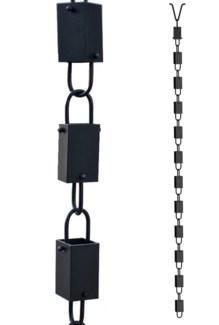 Rain Chain CHAIN Iron. Black P. Coated. 2.5Dx96