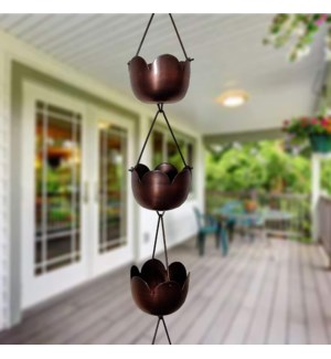 Tulip Rain Chain. Iron. Copper Antique Finsih. 3.25Dx96inch
