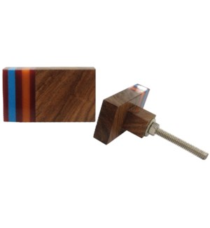 Rect Wood Resin Knob OS