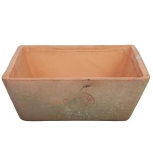 Aged Terracotta square pot.