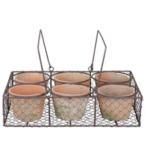 AT 6 pots in wire basket/handl