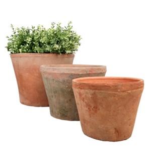 Aged Terracotta pot set 3 roun