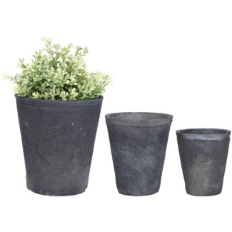 AT grey pot round S set of 3, Terra cotta - 3.9x3.9x4.4in.