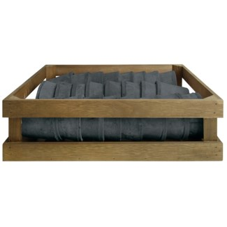 AT grey 24 pots in wooden crate, Terra cotta - 4.5x4.5x3.7in.