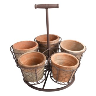 AT standing pot holder with 5 pots