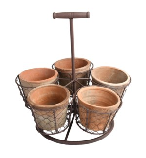 AT standing pot holder with 5