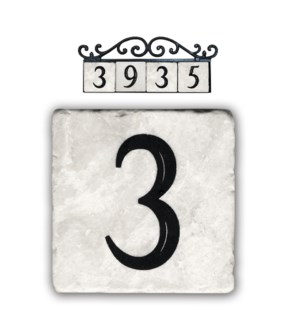 """3,classic marble number tile"""