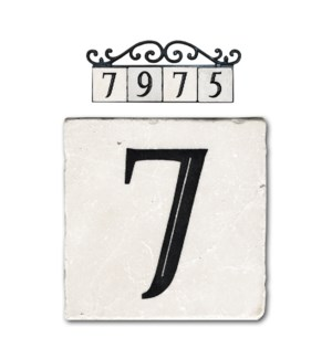 """7,classic marble number tile"""