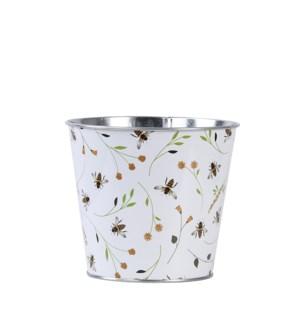Bee print round zinc flower pot