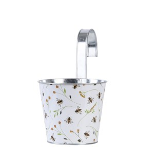 Bee print round zinc flower pot with hook