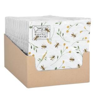 Bee print paper napkins 33x33cm