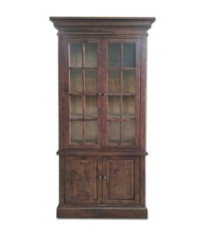 Tall Glass cabinet- Dark Brown