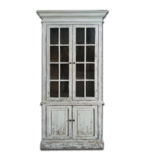 Tall Glass cabinet- Rustic White
