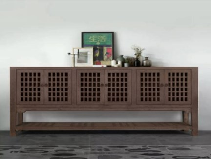 Kefla 7 Drawer Buffet/Console Table, Recycled Old Pinewood, 70.9x17x35.4