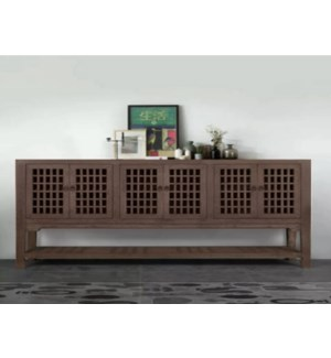 """Kefla 7 Drawer Buffet/Console Table, Recycled Old Pinewood, 70.9x17x35.4"""