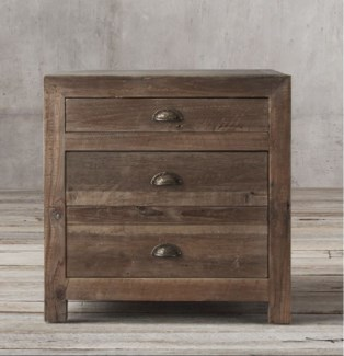Mocha 3 Drw Bedside Table, Recycled Old Pinewood, 21.6x21.6x21.6