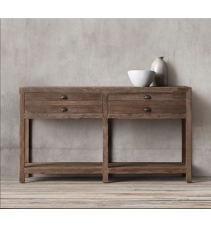 Republic 4 Drw Console Table, Recycled Old Pinewood, 55.17.7x30