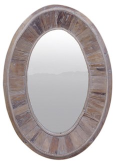 Boardwalk Oval Mirror, Recycled Old Pinewood, 23.6x23.6x35