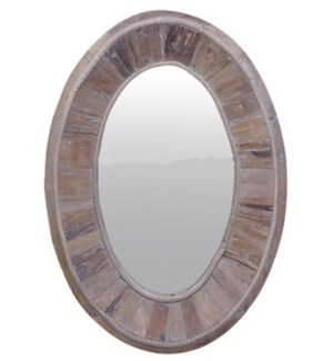 Boardwalk Oval Mirror, Recycled Old Pinewood, 23.6x23.6x35 inch