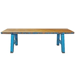 """Midwich Natural 2 Tone Bench, Natural/Blue"""