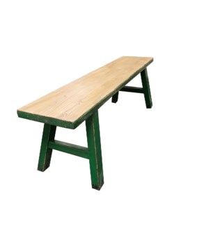 Midwich 2 Tone Wood Bench, Natural/Green, Recycled Old Pinewood, 55x11.8x17.7