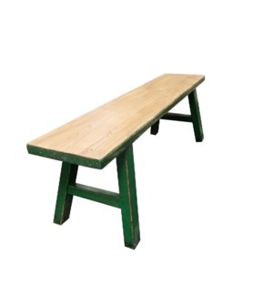 """Midwich Natural 2 Tone Bench, Natural/Green"""